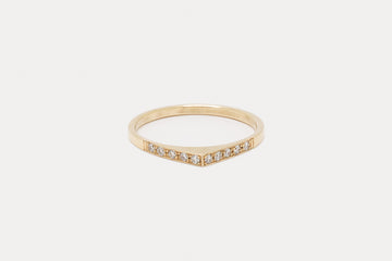 Thin Pave Bateau Ring - Gold
