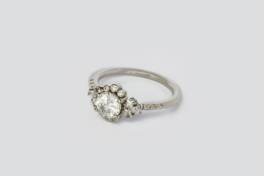 Blanca Briar Rose Ring <br> White Zircon ⟡ Gold