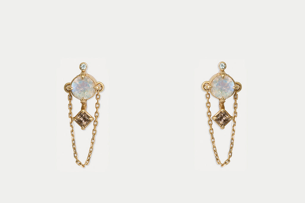 Gemini Earrings <br> Moonstone ⟡ Gold