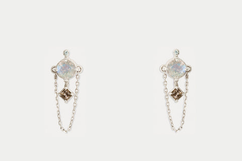 Gemini Earrings <br> Moonstone ⟡ Silver