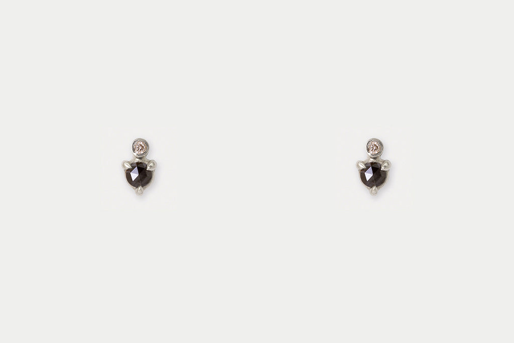 Mir Studs <br> Black Diamond ⟡ Silver