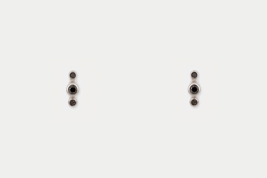 Orion Studs <br> Black Diamond ⟡ Silver