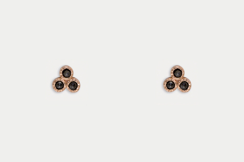 Troika Studs <br> Black Diamond ⟡ 14k Rose Gold
