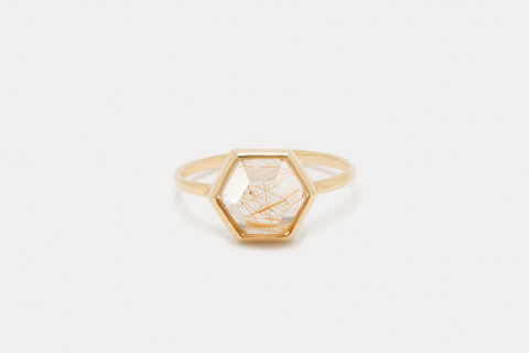 Tuhla Ring <br> Rutilated Quartz ⟡ Gold