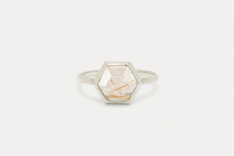Tuhla Ring <br> Rutilated Quartz ⟡ Silver