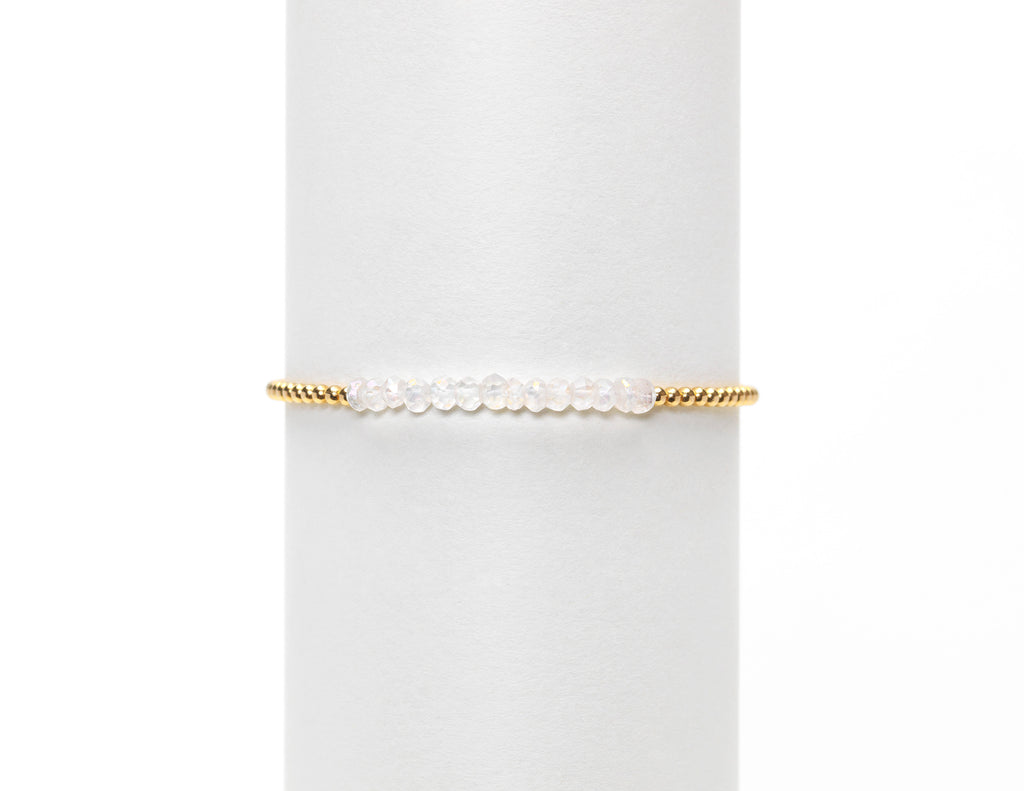 2mm Gold Filled Bracelet-White Topaz