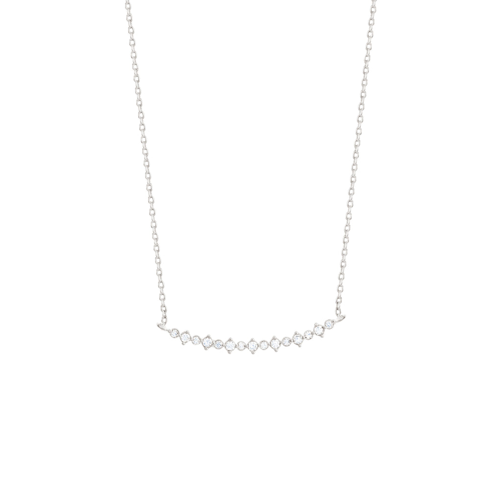 Diamond Bar Necklace-Silver