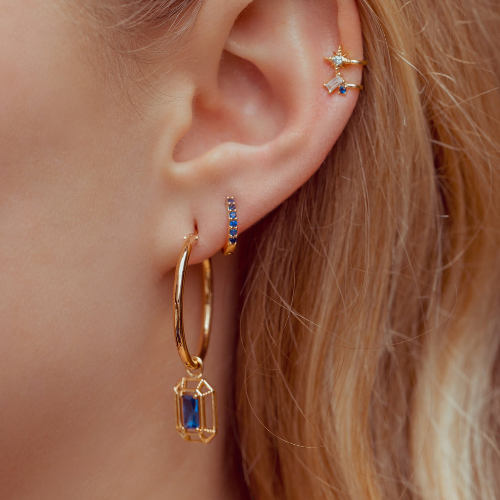 Sapphire Cubic Mini Hoops Gold
