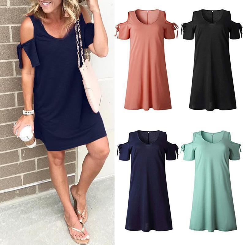 V-Neck Dew Shoulder Dress