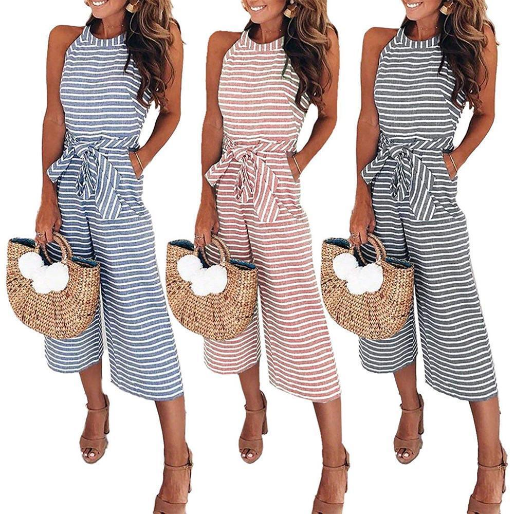 Women Summer Striped Sleeveless Back Zipper Jumpsuits