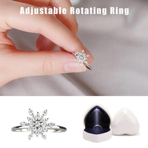 Women's Adjustable Rotating Ring Snowflake Heart-shaped Ring Box With LED