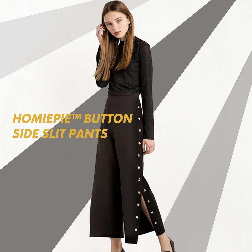 Button Side Slit Pants