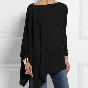 Round Neck Long Sleeve Cotton-Blend Shirts & Tops
