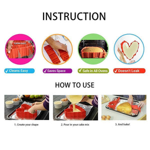 DIY Nonstick Silicone Cake Mold Kitchen Baking Mould Tools, 4 PCs