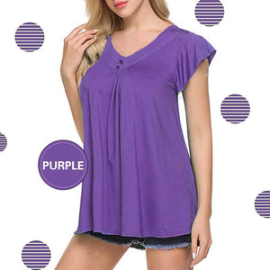 Women's V Neck Pleated Tunic Tops