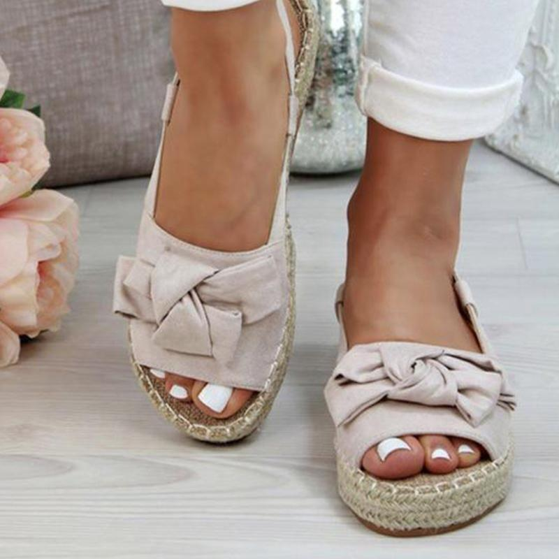 Womens Bow Tie Knot Flat Sandals