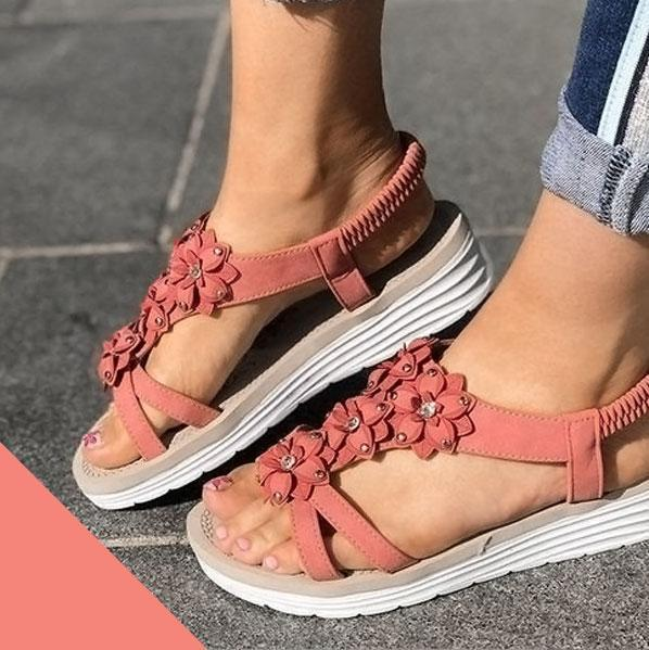 Women's Summer Flower Wedge Sandals