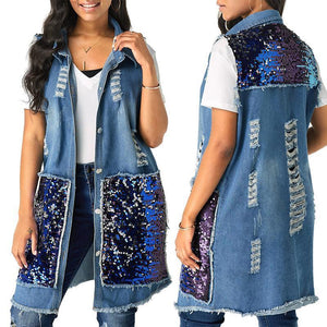 Womens Casual Vintage Sleeveless Denim Jean Vest Jacket
