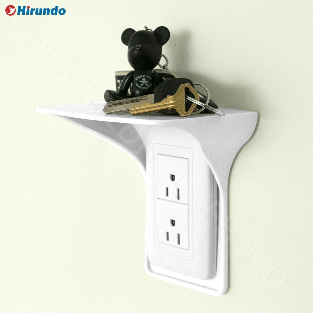 Hirundo Wall Outlet Shelf Power Perch, White/Black