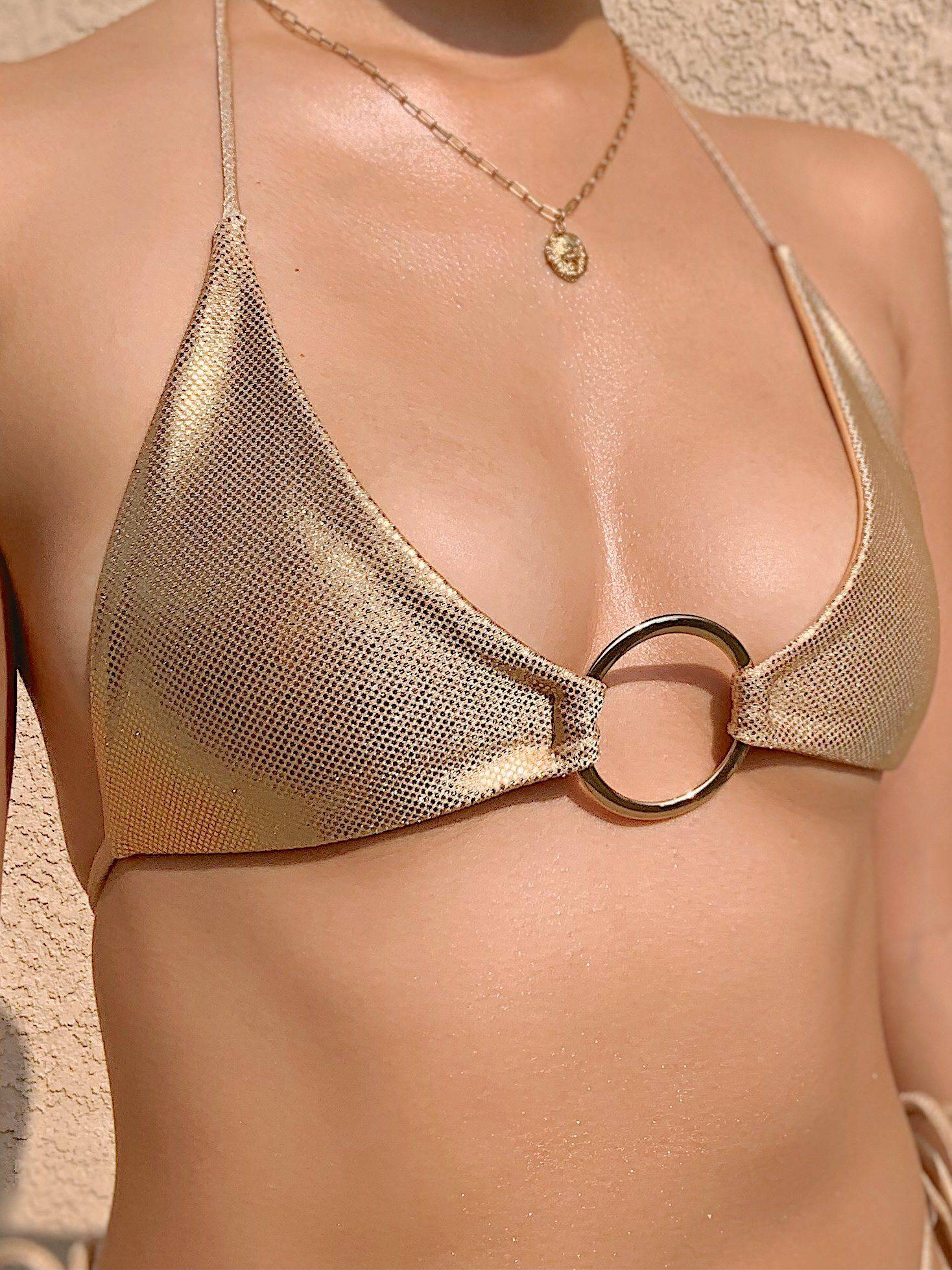 Alysanne Triangle Bikini Top - Metallic Gold With Gold Ring - Lovy Bikinis