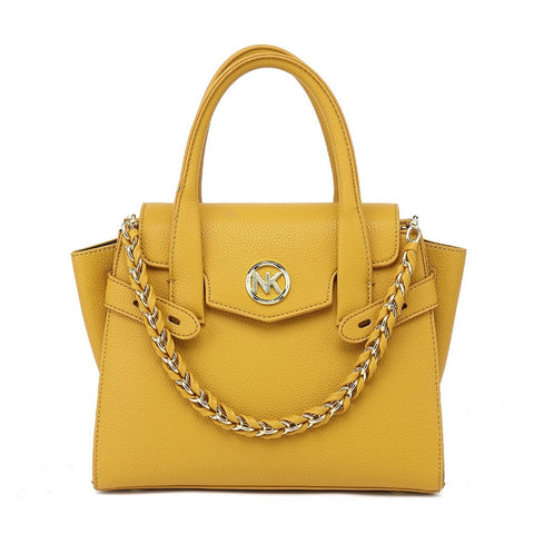 Mustard winged tote bag with long strap back zip pocket
