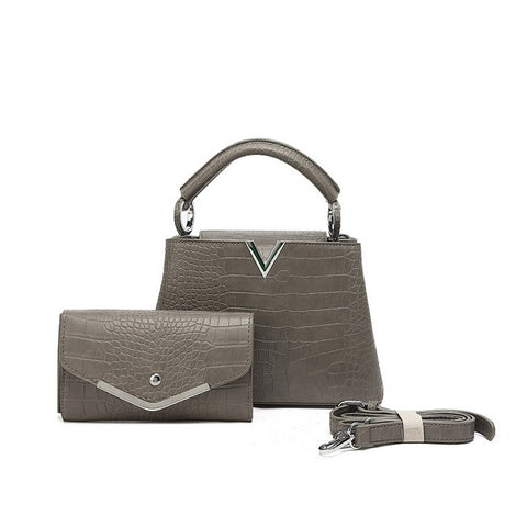 Grey Mock Croc pattern Top handle Bag with purse set