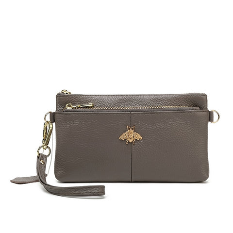 Grey bumblebee Genuine Leather Purse
