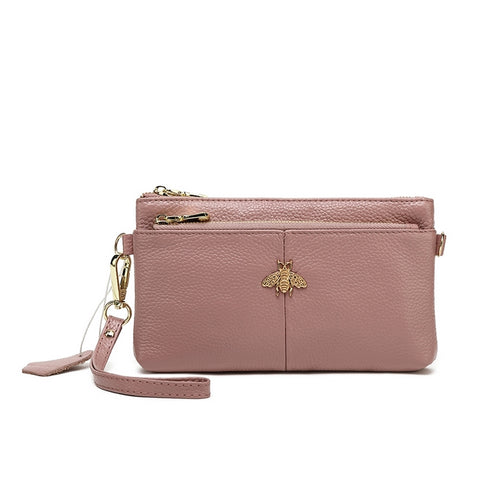 Pink bumblebee Genuine Leather Purse