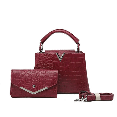 Wine Mock Croc pattern Top handle Bag with purse set