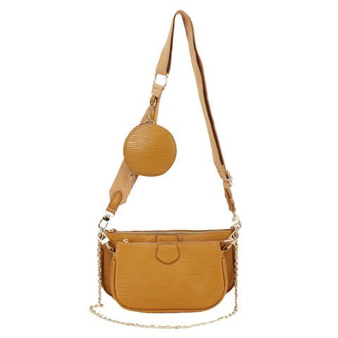 Embossed leather look 3 In 1 Crossbody bag