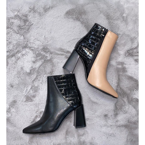 Duo Toned Block Heel Ankle Boot