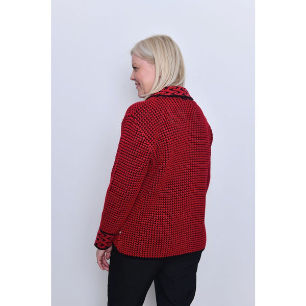 Sara Knitwear Red Waffle Zip Up Cardigan