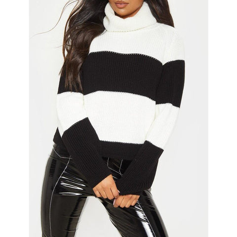 Black Roll Neck Strip Jumper