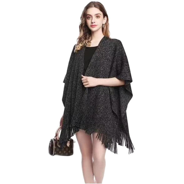 Black Sparkle Poncho Wrap - Kirkwood of Scotland