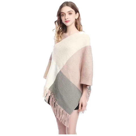 Colour Block Poncho Wrap - Kirkwood of Scotland