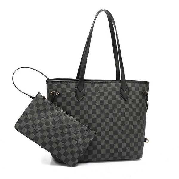 Black Check Neverfull Tote Bag With Clutch