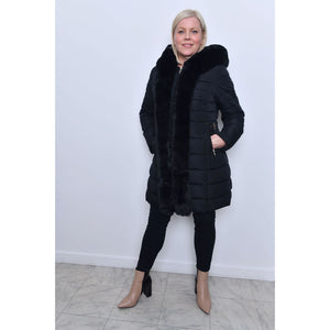 Long Length Fur Trim Padded Jacket - Black