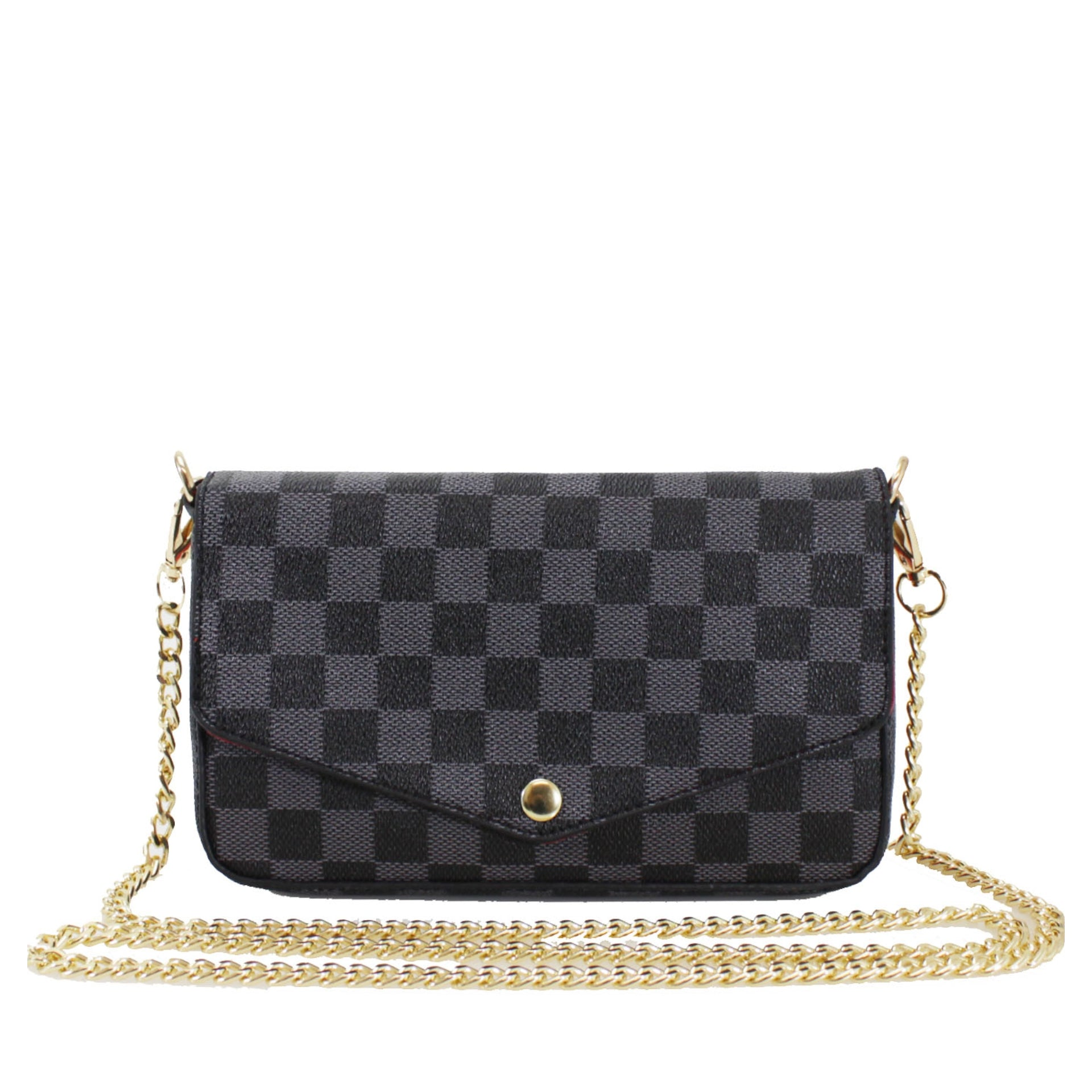 Black Check Chain 3-in-1 Bag/Card and Coin Holder