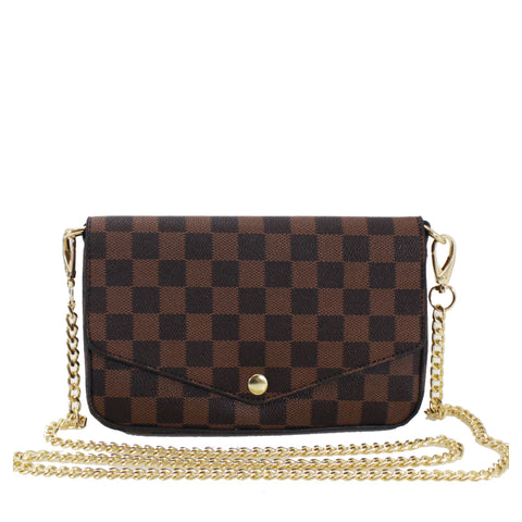 Brown Check Chain 3-in-1 Bag/Card and Coin Holder