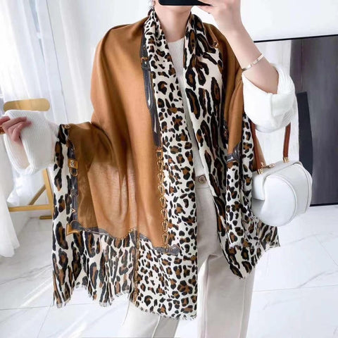 Leopard Print Oversized Scarf