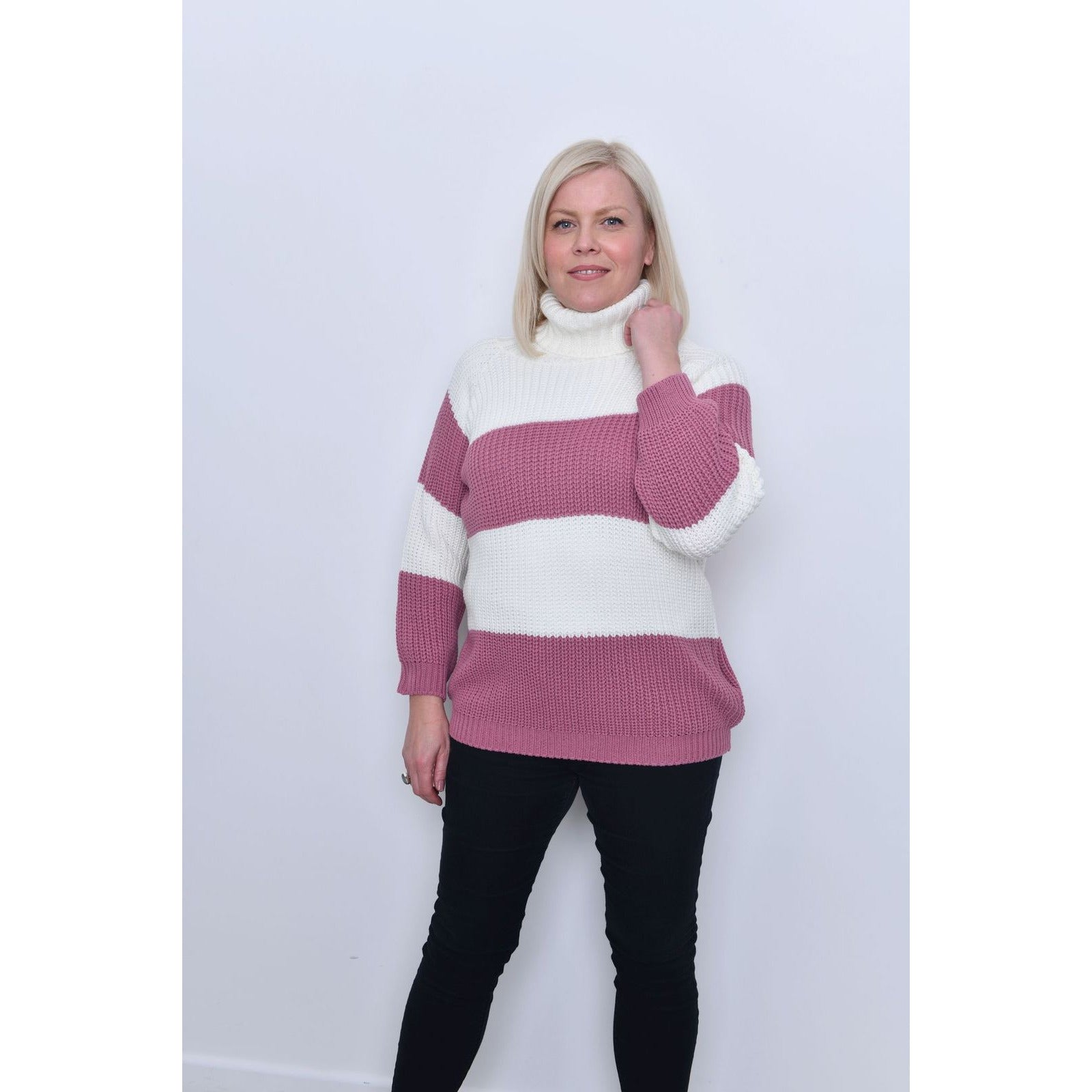 Pink Roll Neck Strip Jumper