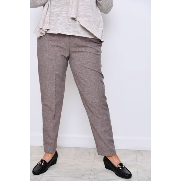 Marl Brown Half Elasticated Trousers