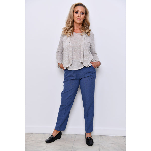 Denim Half Elasticated Trousers