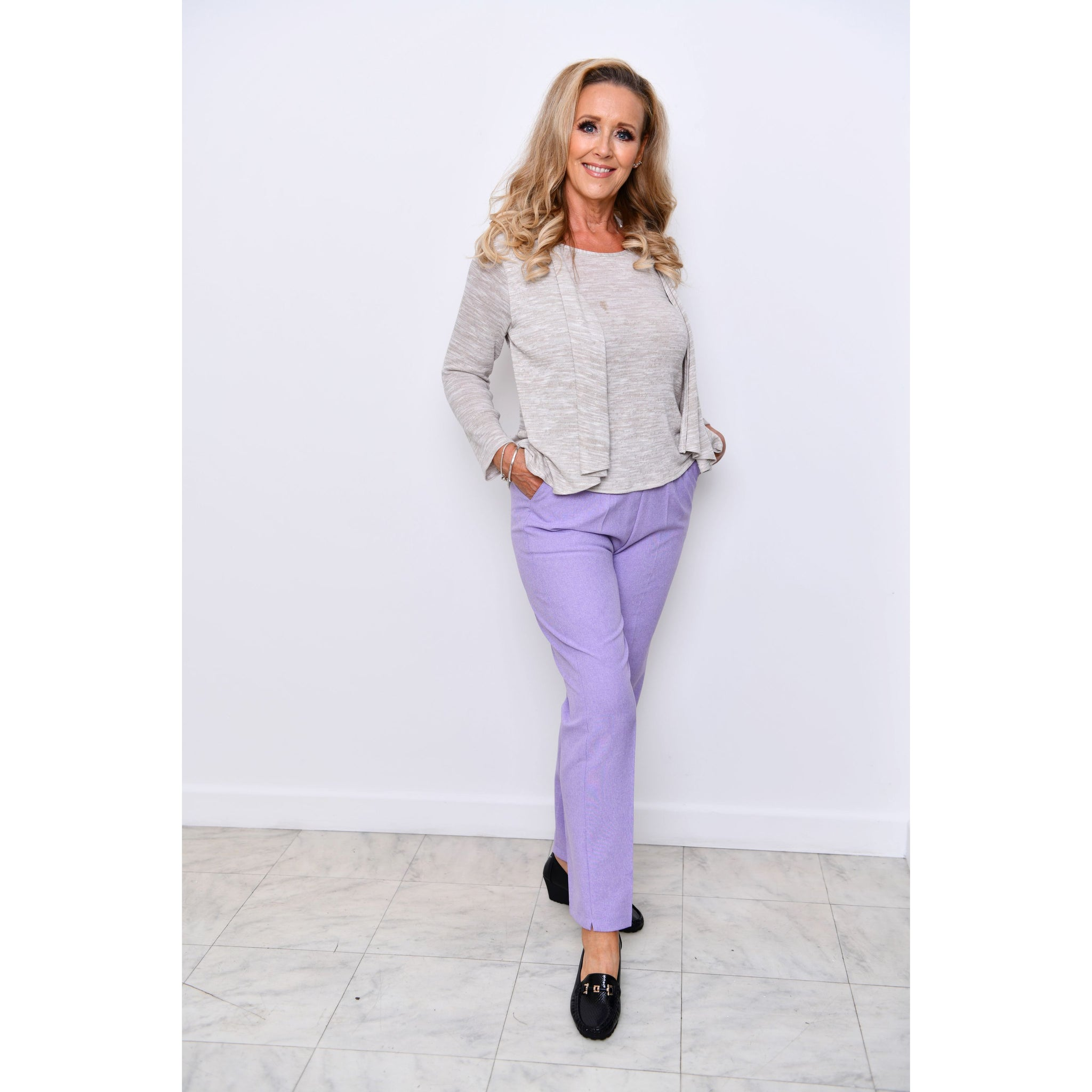 Lilac Half Elasticated Trousers