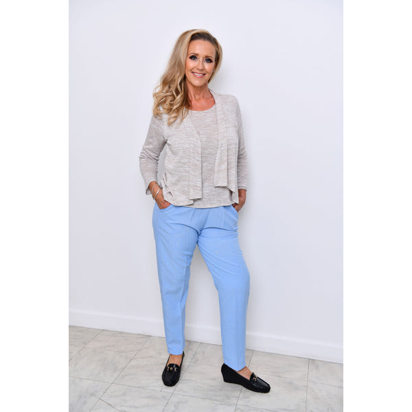 Sky Blue Half Elasticated Trousers