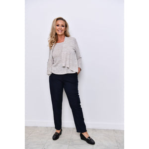 Navy Half Elasticated Trousers