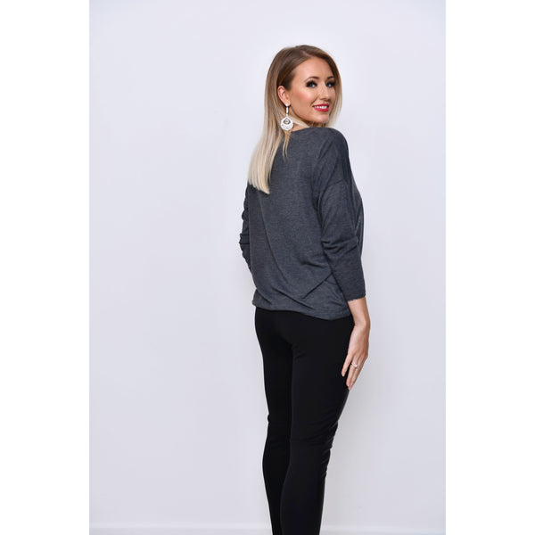 Soft Knit Batwing Top with Sequin Star Detail - Grey