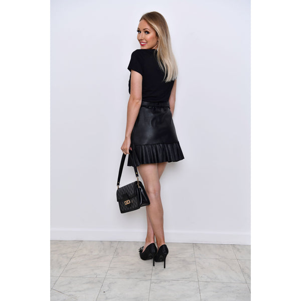 Black Faux Leather Pleated Detail Mini Skirt