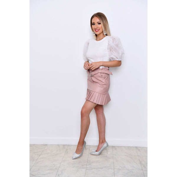 Pink Faux Leather Pleated Detail Mini Skirt