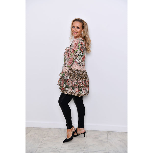 Pink Leopard Floral Lace Frilly Tie Front Top